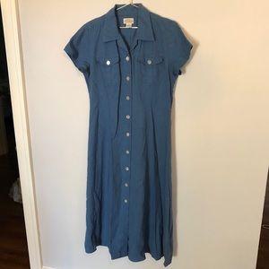 Vintage St. John's Bay linen maxi shirtdress
